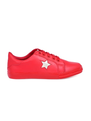 red lace-up sneakers - 15912924 - Standard Image - 2