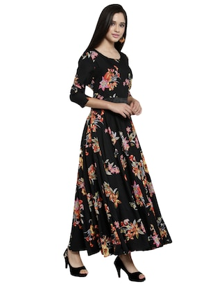 contrast flared maxi dress - 15914235 - Standard Image - 2