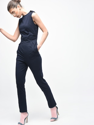 Boat neck button detail jumpsuit - 15930136 - Standard Image - 2
