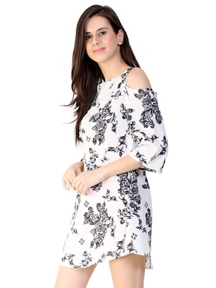 cold shoulder floral a-line dress - 15930807 - Standard Image - 2