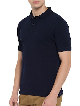 navy blue polyester polo t-shirt - 15932788 - Standard Image - 2