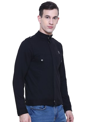 black cotton casual jacket - 15933780 - Standard Image - 2
