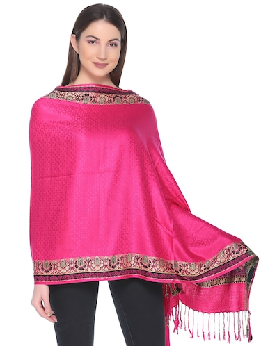 41fab7456 Buy Solid Pink Woolen Stole by Cayman - Online shopping for Stoles ...