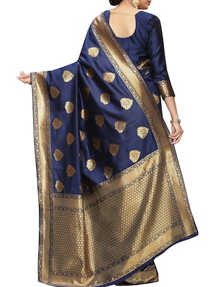 floral zari motifs navy woven saree with blouse - 15939957 - Standard Image - 2
