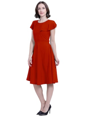 ruffle sleeved a-line dress - 15941105 - Standard Image - 2