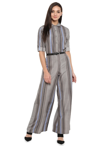 be63829bd4e Buy Green Solid Collared Jumpsuit for Women from Uptownie Lite for ...