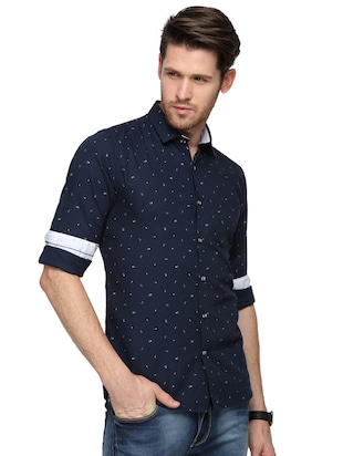 navy blue printed casual shirt - 15946166 - Standard Image - 2