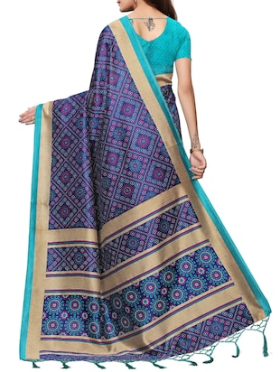 floral printed saree with blouse - 15954310 - Standard Image - 2