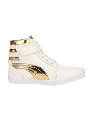 white leatherette lace up sneakers - 15958550 - Standard Image - 2