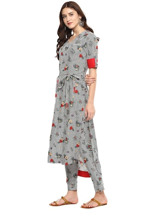 Stripes & floral high-low kurta with pant set - 15965382 - Standard Image - 2