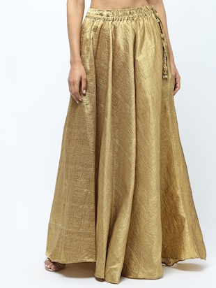 Solid brocade flared skirt - 15969158 - Standard Image - 2