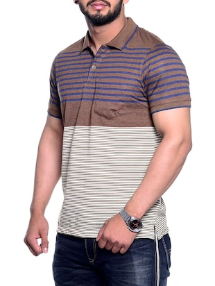 brown striped pocket tshirt - 15972717 - Standard Image - 2