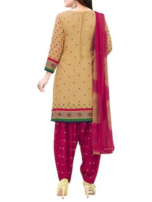 Printed unstitched combo suit - 15975522 - Standard Image - 5