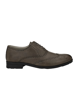 grey leatherette lace-up brouges - 15978763 - Standard Image - 2