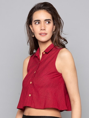 button up boxy crop top - 15983290 - Standard Image - 2