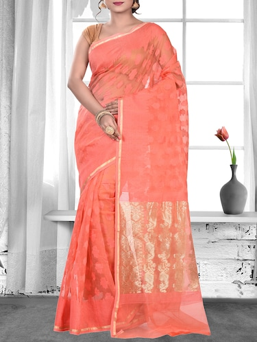88f8245319 Pastel Pink Saree With Contrasting Black Border