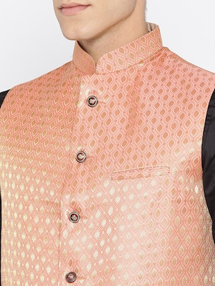 orange silk nehru jacket - 16003263 - Standard Image - 5