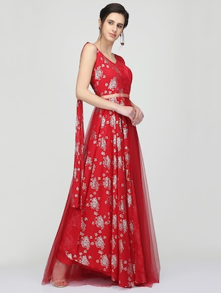Foil print flared gown - 16007035 - Standard Image - 2