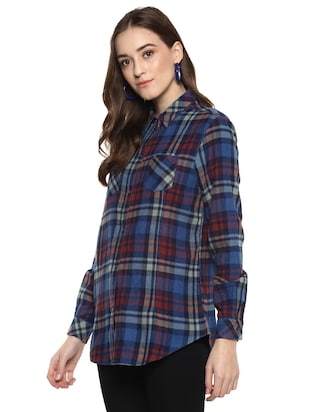 pocket patch checkered shirt - 16009111 - Standard Image - 2