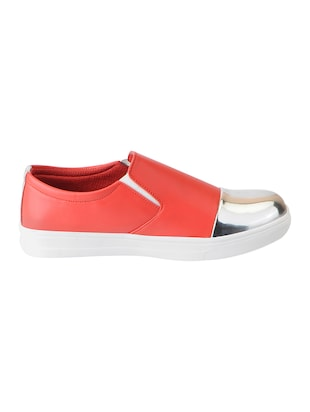 red synthetic slip on casual shoes - 16015740 - Standard Image - 2