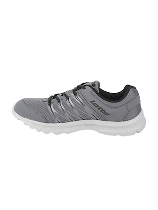grey fabric lace up sport shoes - 16025760 - Standard Image - 2