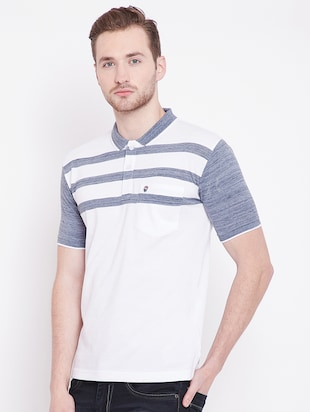 white striped polo t-shirt - 16041797 - Standard Image - 2