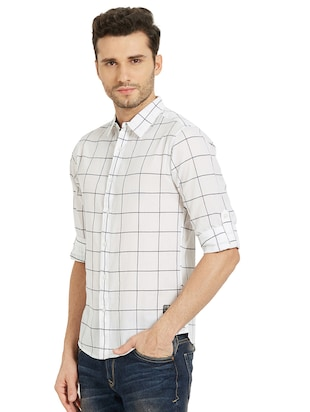 white checkered casual shirt - 16042882 - Standard Image - 2