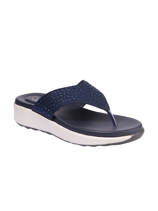7e994d511 Buy Navy Fabric Slippers Flip Flops for Women from Khadims for ₹629 at 37%  off