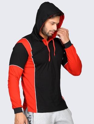 321af510b black color block hooded t-shirt - 16057073 - Standard Image - 2 ...