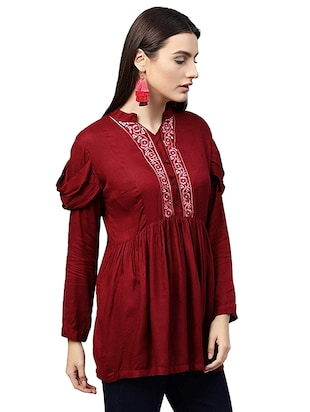 Embroidered solid kurti - 16057992 - Standard Image - 2
