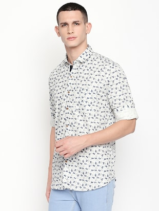 white printed casual shirt - 16059167 - Standard Image - 2