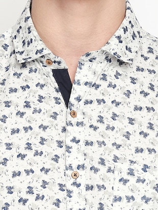 white printed casual shirt - 16059167 - Standard Image - 5