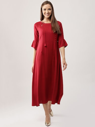 Red Party Dress with Sleeves