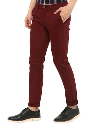 maroon solid chinos - 16065807 - Standard Image - 2