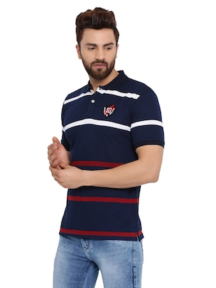 navy blue striped polo t-shirt  - 16078030 - Standard Image - 2