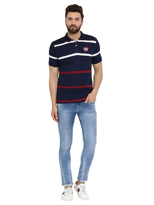 navy blue striped polo t-shirt  - 16078030 - Standard Image - 5