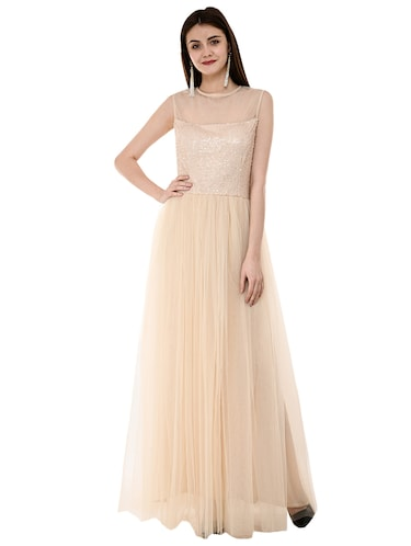 sequined flared gown - 16078767 - Standard Image - 1