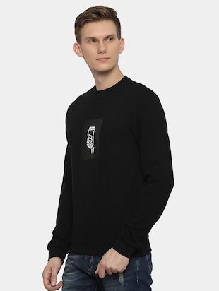 black chest print sweatshirt - 16082171 - Standard Image - 2