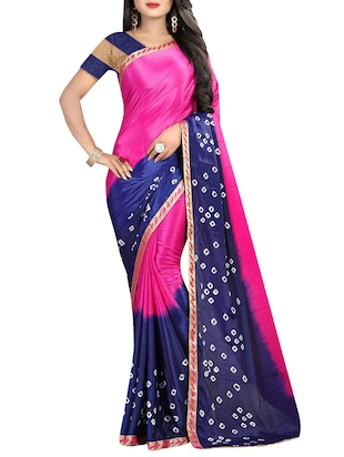 set of 2 multicolor bandhani saree combo with blouse - 16085710 - Standard Image - 2