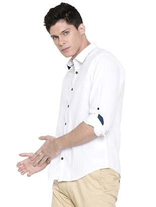 white solid casual shirt - 16086830 - Standard Image - 2