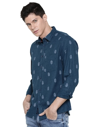 blue printed casual shirt - 16086869 - Standard Image - 2