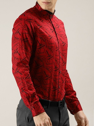 red printed casual shirt - 16089606 - Standard Image - 2