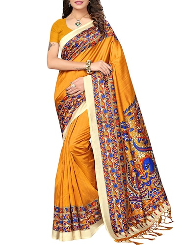 ff6068ee336 Buy Contrast Floral Printed Border Saree With Blouse for Women from ...