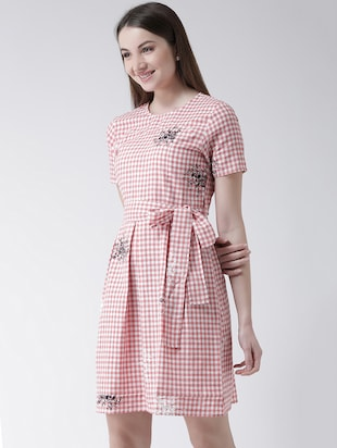 checkered pleated a-line dress - 16094188 - Standard Image - 2