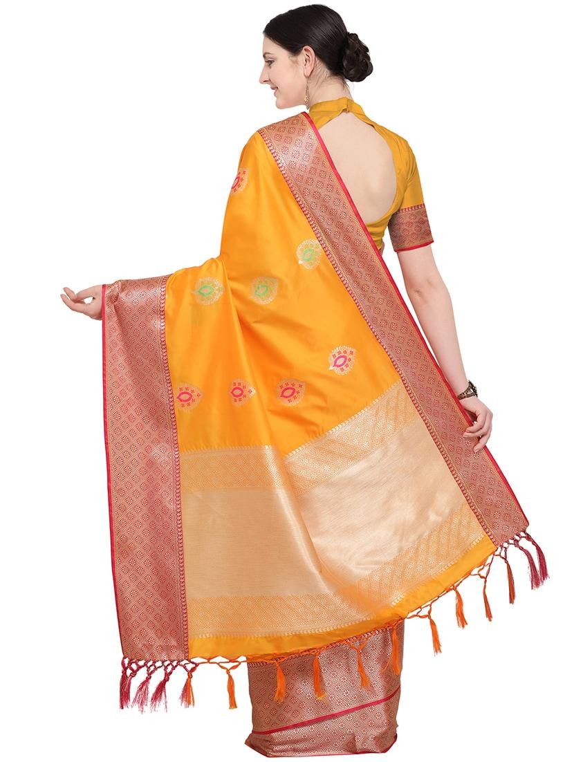 da6f7fc7be029 ... contrast zari border orange banarasi saree with blouse - 16094233 -  Zoom Image - 2