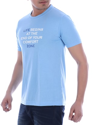 blue typographic chest print t-shirt - 16094246 - Standard Image - 2