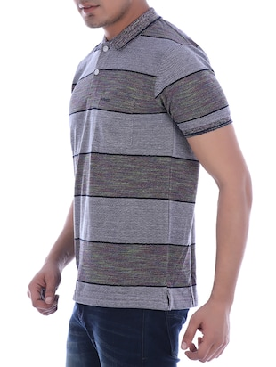 grey striped polo t-shirt - 16094257 - Standard Image - 2