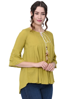 pearl embellished pleated top - 16095888 - Standard Image - 2