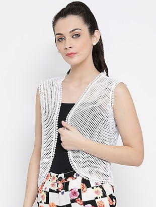 sleeveless crochet shrug - 16096055 - Standard Image - 2