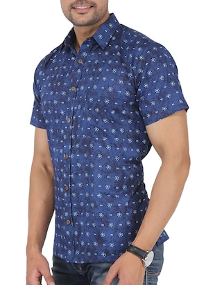 blue printed casual shirt - 16098795 - Standard Image - 2